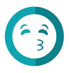 Kissing emoticon style icon shadow vector