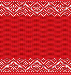 Knitted red christmas geometric ornament winter vector