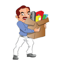 Man carrying carton full of office supplies vector