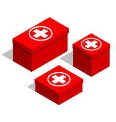 Medical first-aid kits set of red boxes with a vector