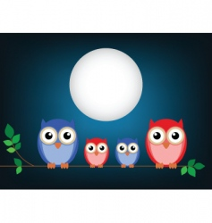 owl family cartoon vector image