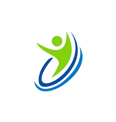 People happy swoosh sport logo vector