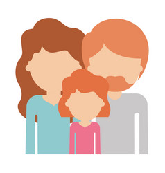 People in half body faceless woman and girl with vector