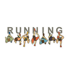 people running top view with text graphic vector image