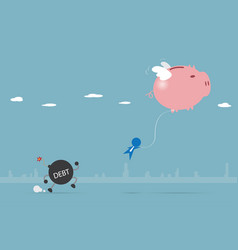 Piggy bank flying with businessman and debt vector