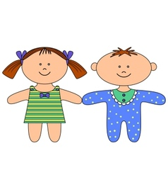 Rag dolls boy and girl vector image vector image