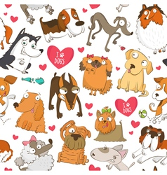Seamless pattern with dogs and hearts vector image vector image