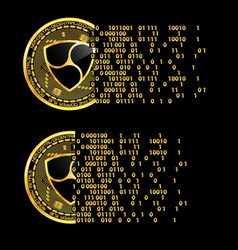 Set of crypto currency nem golden symbols vector