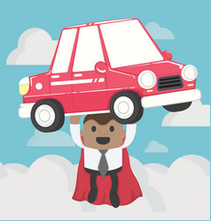 Super businessman carrying carconcept car loans vector