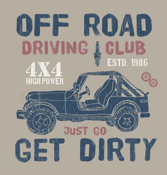 T-shirt design offroad driving club with suv car vector