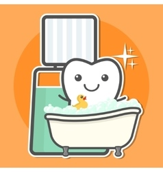 Tooth take a bath of mouthwash vector