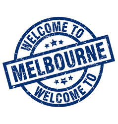 Welcome to melbourne blue stamp vector
