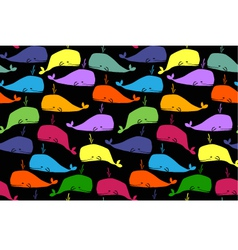 whales seamless background vector image vector image