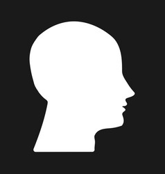 white silhouette head on dark background vector image vector image