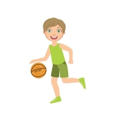 Boy Playing Basketball In Green Clothes vector image