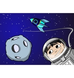 Boy in space vector