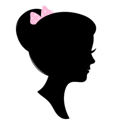 Vintage woman head silhouette isolated on white vector