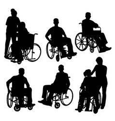 People on crutch and wheelchair silhouettes vector