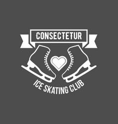 Ice skating label logo set vector