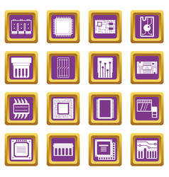 Computer chips icons set purple vector