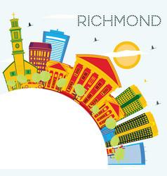 Richmond skyline with color buildings blue sky vector