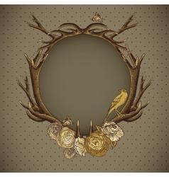 Vintage roses card with deer antlers vector