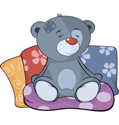 The stuffed toy bear cub and pillows cartoon vector image