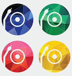 Vinyl turntable icon abstract triangle vector