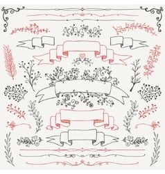 Hand drawn floral design elements vector