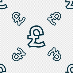 Pound sterling icon sign seamless pattern with vector