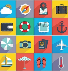Flat quality travel map icons vector