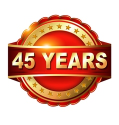 45 years anniversary golden label with ribbon vector