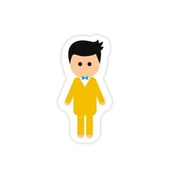 paper sticker on white background groom young vector image