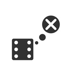 Black icon on white background dice and x mark vector
