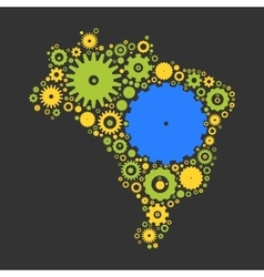 Brasil map silhouette mosaic of cogs and gears vector