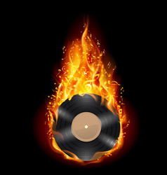 Burning vinyl record with fiery notes bright on vector