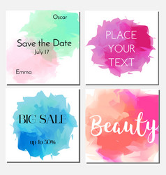Cards design template with watercolor effect vector