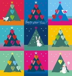 Christmas tree with birds hearts bunny snowman vector