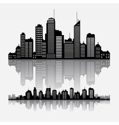 cityscape skyline buidlings with reflection vector image vector image
