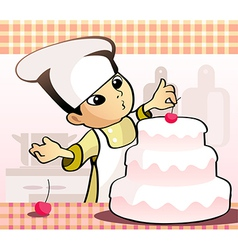 Confectioner baking a cake vector