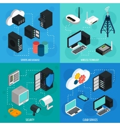 Data center 2x2 isometric icons set vector