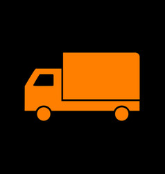 delivery sign orange icon on black vector image vector image