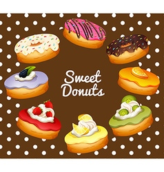 Different flavors of donuts vector image vector image