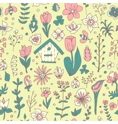 Floral spring seamless pattern vector image
