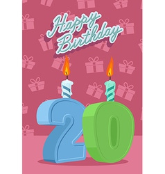 Happy birthday card with 20th birthday vector image
