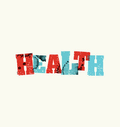 Health concept colorful stamped word vector