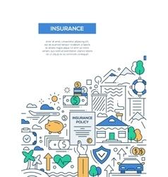 Insurance - line design brochure poster template vector