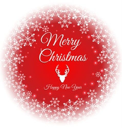Merry christmas and happy new year text on snow vector image vector image