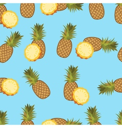 Pineapple seamless pattern pineapple on blue vector