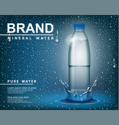pure mineral water ad transparent shine plastic vector image